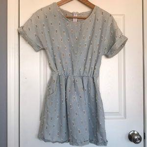 Distressed denim dress